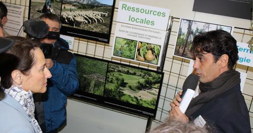 Le maire de Buis Sébastien Bernard explique à la ministre le projet de création d'un réseau de chaleur à bois déchiqueté prévu d'être mis en place au buis en 2015.